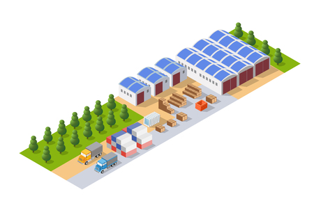Perspective panorama of the landscape of industrial objects plant, factories, parking lots and warehouses. Isometric top view the city with streets, buildings and trees. Town construction industry