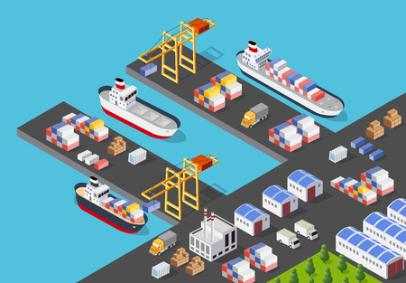 Isometric port cargo ship cargo seaport at sea with crane container transport vessel logistic illustration