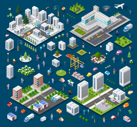 Isometric set module city Illusztráció
