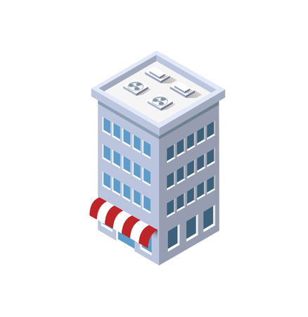 The store eatery grocery home architecture is an idea of technology business equipment flat style urban isometric illustration