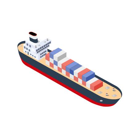 Isometric ship container vessel industrial cargo transport Ilustração