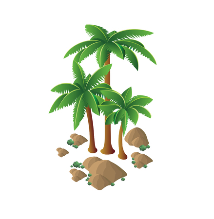 Isometric landscape scene with palm tree desert sand stones