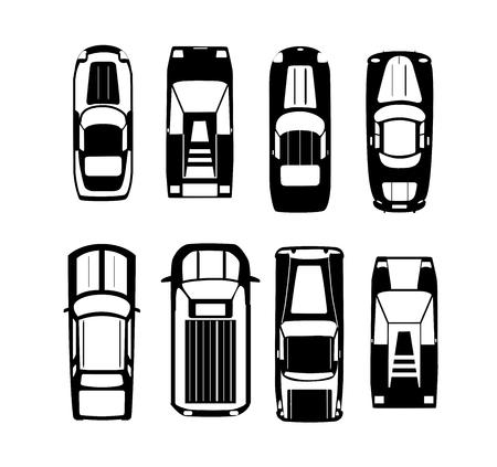 Voitures silhouette Transport vue de dessus icon set vector illustration isolé dans un style plat Vecteurs