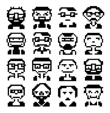 Iconos de caras en pictogramas de gráficos de píxeles de estilo de personas masculinas y divertidas caras femeninas