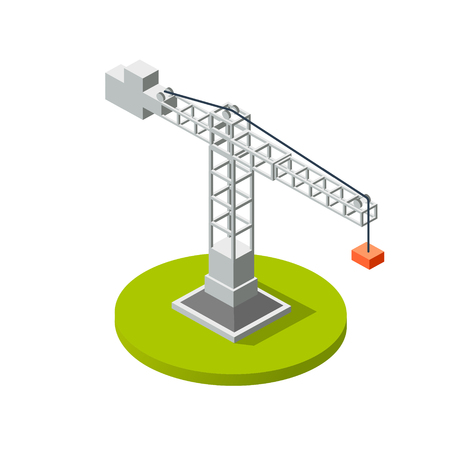 Isometric crane industry building construction Ilustrace