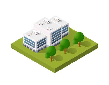 Style flat isometric city of building skyscraper house element industry and housing without shadows cut out