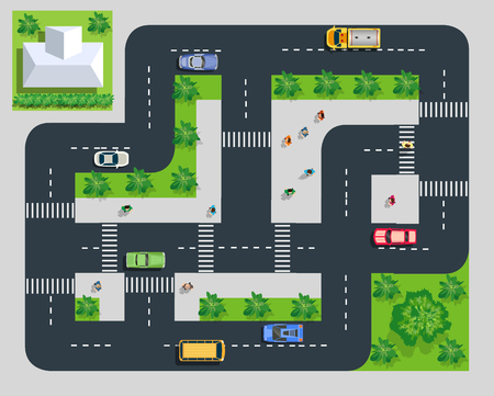 Top view of the road with cars streets traffic city Stock fotó - 124249215