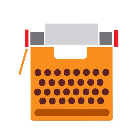 Typewriter retro flat style on white background cut out