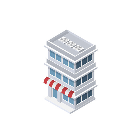 Isometric house shop urban city infrastructure of the economy. Landscape town trees parks illustration vector