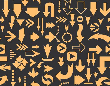 Arrows seamless pattern of silhouettes of directional cursor signs Ilustração