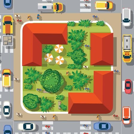 Top view of the seamless pattern landscape city. Urban crossroads with cars and houses, pedestrians. Background town map pattern streets, intersection roof and buildings. Ilustração