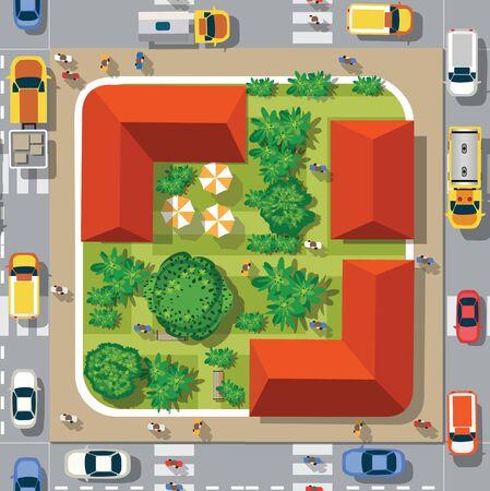 Vista superior de la ciudad de paisaje de patrones sin fisuras. Cruce de caminos urbanos con coches y casas, peatones. Calles de patrón de mapa de ciudad de fondo, techo de intersección y edificios. Ilustración de vector