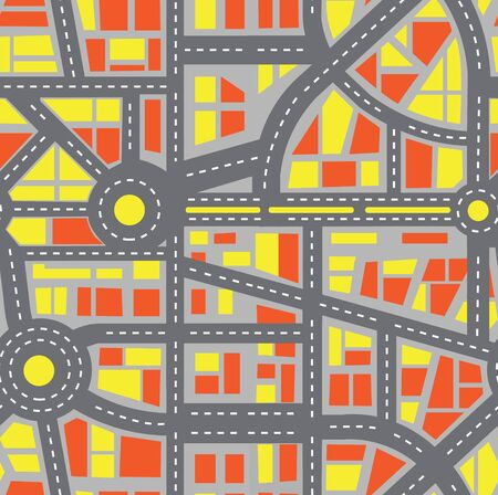 Seamless map of the city. Repeating plan pattern. Editable vector street chart of a fictional generic town. Abstract urban background. Иллюстрация