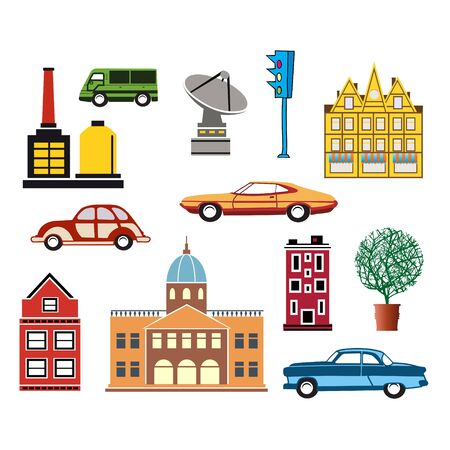 A set of urban objects in a flat style, including trees and vehicles