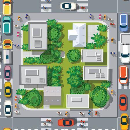 Draufsicht auf die nahtlose Musterlandschaftsstadt. Städtische Kreuzung mit Autos und Häusern, Fußgängern. Hintergrund Stadtplan Musterstraßen, Kreuzungsdach und Gebäude.
