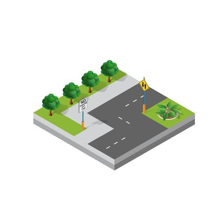 Isometric 3d module block district part of the city with a street road from the urban infrastructure of vector architecture. Modern white illustration for game design and business background Illusztráció