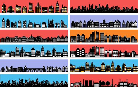 Set of city landscape silhouettes with houses and skyscrapers Illusztráció