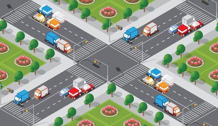 Patrón de mapa de la ciudad sin fisuras. Estructura isométrica de un paisaje de una intersección de transporte callejero, carretera asfaltada y calle.