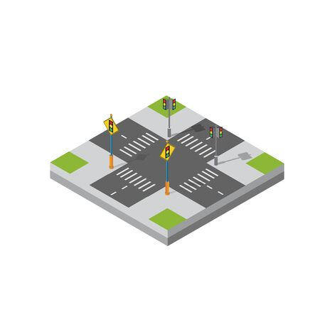 Isometric 3d module block district part of the city with a street road from the urban infrastructure of vector architecture. Modern white illustration for game design and business background Ilustração