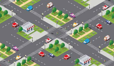 Seamless city map pattern. Isometric structure of a landscape of a street transport intersection asphalt highway and street