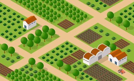 Rural isometric ranch farm with trees fields and garden bed of vegetables and flowers agriculture. Seamless urban repeating pattern for design and creativity concept. Archivio Fotografico - 129976590