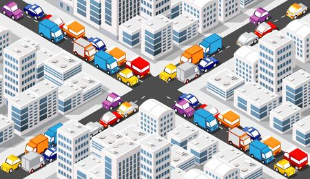 Isometric Crossroads intersection of streets of highways with traffic cars standing in jam. Seamless repeating background illustration Stock Illustratie