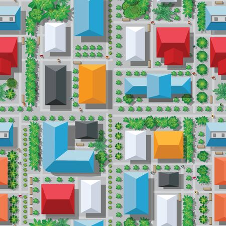 Seamless city map pattern. Top view of the structure of the landscape of the street transport intersection asphalt highway and streets  イラスト・ベクター素材