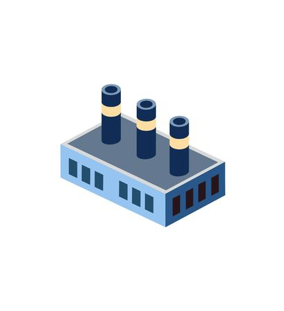 Plant factory icon and industrial building in the isometric building