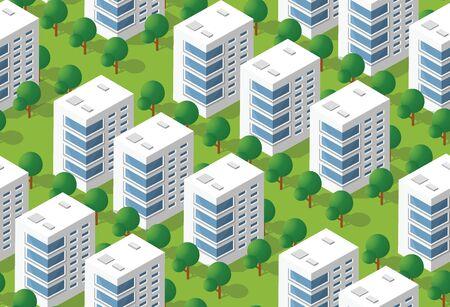 Urban isometric area Stock Illustratie