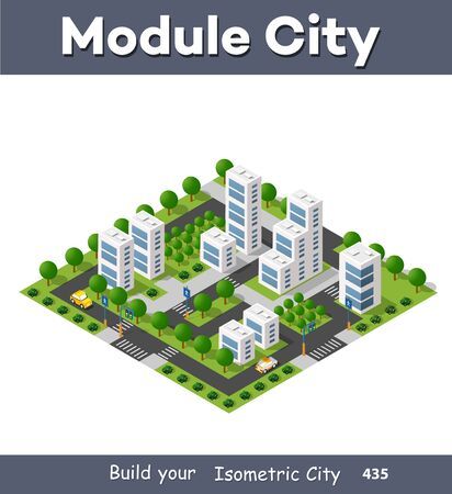 Isometric module area downtown to build a map of the city infrastructure plan place Illustration