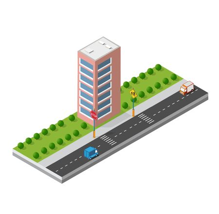 Isometric 3d module block district part of the city with a street road from the urban infrastructure of vector architecture. Modern white illustration for game design Ilustração