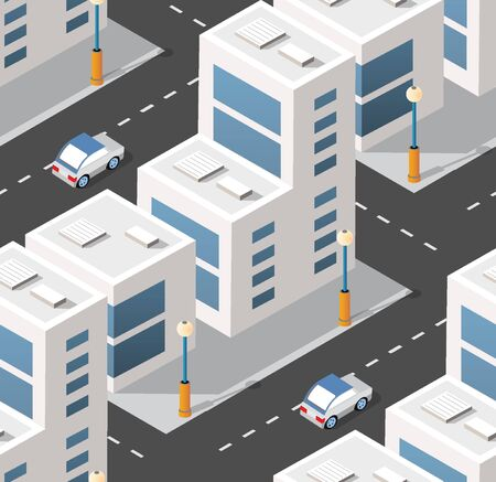 Urban isometric area with building cars and streets. Seamless urban repeating pattern for design and creativity concept.