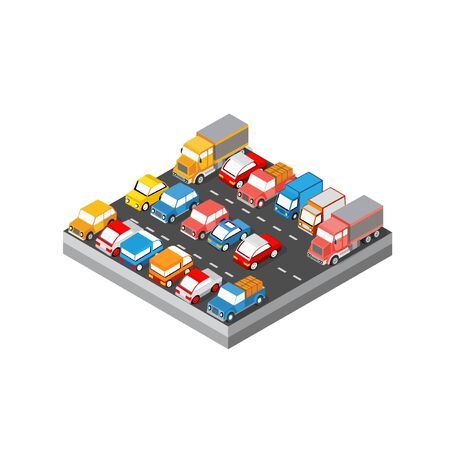 Isometric module block area of the city car parking with cars, trucks, taxis, trailers and vans.