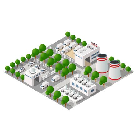 Industrial manufactured city map Isometric landscape structure of factories and plants