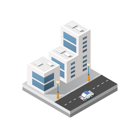 Isometric 3d module block district part of the city with a street road building skyscraper from the urban infrastructure of vector architecture. Modern white illustration for game design