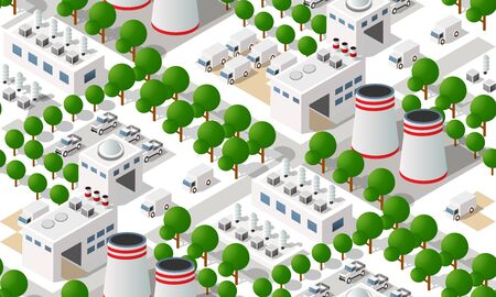 Seamless pattern industrial manufactured city map pattern. Isometric landscape structure of factories and plants