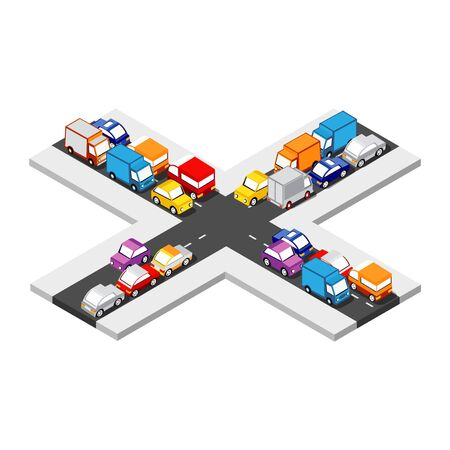 Isometric Crossroads intersection of streets of highways with traffic cars standing in jam. Conceptual Vector City Illustration