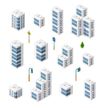 Vector set isometric urban architecture building of modern city with street, skyscraper, and town, house. For business illustration and construction map shape background