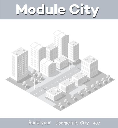 Isometric module area downtown to build a map of the city infrastructure plan place Illusztráció