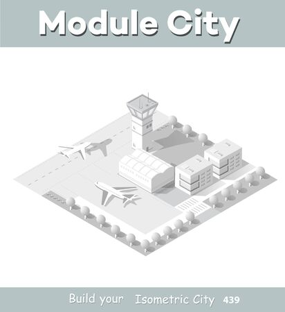 Isometric module area of the city airport, the trees and the flight of construction and building, terminal, planes and cars vector illustration.