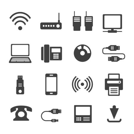 Icônes médias Communications. Un ensemble d'icônes Internet avec différents objets métier. Ordinateur, téléphone, communication et communication et présentation d'idées commerciales. Vecteurs