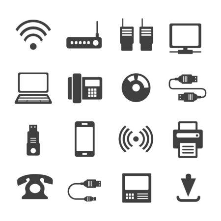 Icons Medienkommunikation. Eine Reihe von Internet-Symbolen mit verschiedenen Geschäftsobjekten. Computer, Telefon, Kommunikation sowie Kommunikation und Präsentation von Geschäftsideen. Vektorgrafik