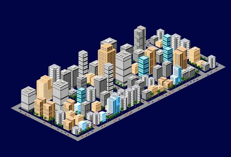 Isometric downtown of urban areas of office buildings construction of the city with trees, street cars and parks Illusztráció