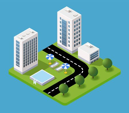Isometric 3d hotel with a trees and umbrellas of urban infrastructure vector architecture. Modern white illustration for game design and business form backgroun