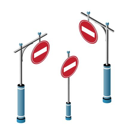 Set of isometric city road signs. Urban infrastructure travel traffic service