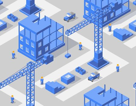 Seamless repeating pattern background Industrial city building with construction cranes and town houses, a car made in perspective in blue