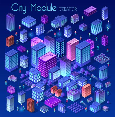 Ultraviolet Isometric City set 3d module block district city with a street road building skyscraper from the urban infrastructure of vector architecture. Modern bright illustration for game design Illusztráció