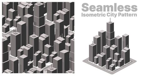 Isometric set background seamless city downtown skyscrapers and high-rise buildings.