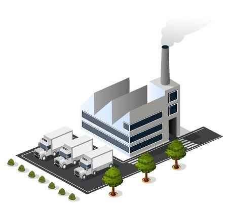 Isometric 3D city urban factory icon building, power plant, van trailer, warehouse Illustration
