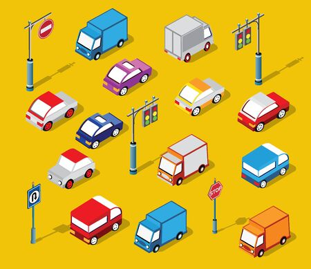The isometric semaphore streetlight set with traffic signs and cars Иллюстрация
